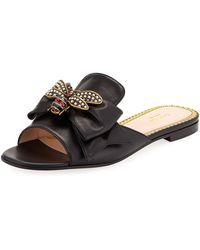Gucci - Embellished Bee Slide Sandals - Lyst