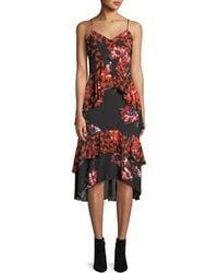 Joie - Ronelle Geometric Floral Ruffle Midi Dress - Lyst