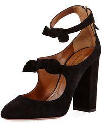 Aquazzura - Sandy Suede Block-heel Bow Pump - Lyst