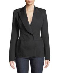 Thierry Mugler - Peak-lapel Wool Twill Suiting Blazer Jacket - Lyst