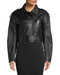 Thierry Mugler - Cropped Soft Leather Moto Jacket - Lyst