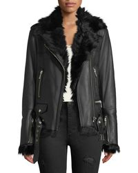 Nour Hammour - Shearling-lined Lace-up Sides Lamb Leather Jacket - Lyst
