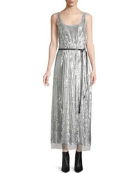 Marc Jacobs - Scoop-neck Sleeveless Mirrored-sequins Belted Cocktail Dress - Lyst