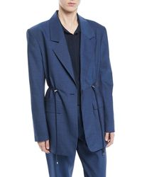 Tibi - Single-breasted Drawstring-waist Oversized Tropical Wool Blazer - Lyst