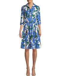Samantha Sung - Audrey 3/4-sleeve Mimosa Floral-print Dress - Lyst