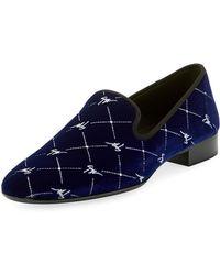 Giuseppe Zanotti - Men's Logo-beaded Velvet Formal Slippers - Lyst