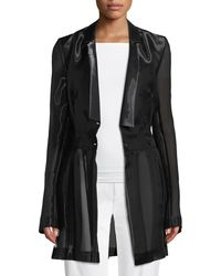 04a11c098ab9 Helmut Lang Linen And Leather Trim Tuxedo Blazer in Black - Lyst