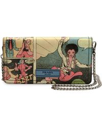 Prada - All Designer Products - Vintage Comic-print Wallet-on-chain - Lyst