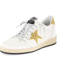 ad0747c97a9 Golden Goose Deluxe Brand - Ball Star Glitter   Leather Sneakers With  Shimmer Laces - Lyst