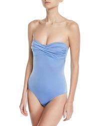 Letarte - Twist-front Solid One-piece Swimsuit - Lyst
