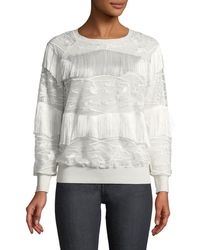 Elie Tahari - Roslyn Fringed-trim Sweater - Lyst
