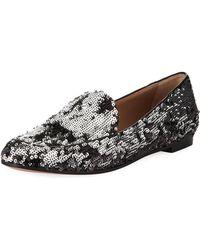 Aquazzura - Purist Sequined Flat Loafer - Lyst