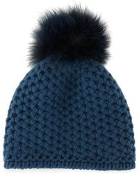Lyst - Inverni Cashmere Ribbed Pom Beanie Hat - Olive in Green 1f062c8891c7