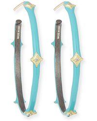 Armenta - Old World 18k Turquoise Enamel Hoop Earrings - Lyst