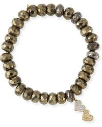 Sydney Evan - 8mm Champagne Pyrite Beaded Bracelet With Diamond Double Heart Charm - Lyst