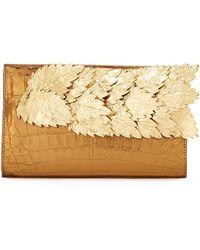 Nancy Gonzalez - Leaves Crocodile Pyramid Clutch Bag - Lyst