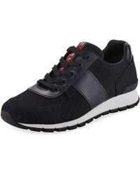Prada - Denim Vitello Lace-up Sneaker - Lyst
