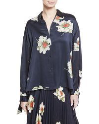 Vince - Gardenia Floral-print Tie-sleeve Silk Blouse - Lyst