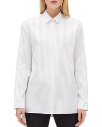 Lafayette 148 New York - Trinity Pinstripe Button-front Blouse - Lyst
