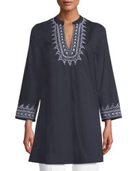 Le Sirenuse - Charlotte V-neck Long-sleeve Cotton Tunic W/ Embroidery - Lyst