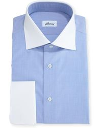 Brioni - End-on-end Dress Shirt With Contrast Collar & Cuffs - Lyst