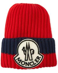2193a78991c Lyst - Moncler Ribbed-knit Wool Beanie in Blue for Men