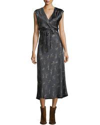 Vince | Spring Floral-print Crossover Satin Slip Dress | Lyst
