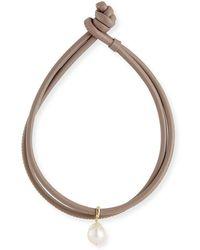 Mizuki - Baroque Pearl & Leather Wrap Bracelet - Lyst