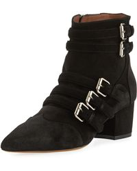 Tabitha Simmons - Christy Suede Buckle 50mm Booties - Lyst
