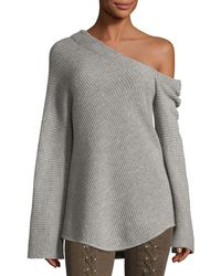 A.L.C. - Charly One-shoulder Long-sleeve Wool Sweater - Lyst