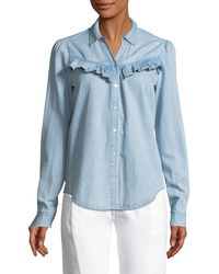 PAIGE - Layda Snap-front Chambray Shirt W/ Ruffled Trim - Lyst