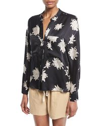 Vince - Silk Chrysanthemum Floral Long-sleeve Pocket Blouse - Lyst