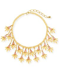 Sequin - Pink Floral Statement Necklace - Lyst