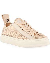 Chloé - Lauren Logo Lace Low-top Sneakers - Lyst