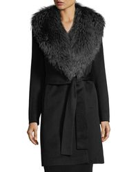 Fleurette - Wrap Coat With Fox Collar - Lyst