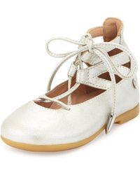 Aquazzura - Belgravia Baby Leather Ballerina Flat - Lyst
