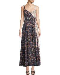 Rosie Assoulin - V-neck Sleeveless Marble-print Stretch-poplin Wrap Dress - Lyst