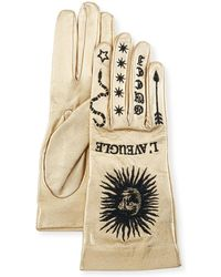 Gucci - Melissa Metallic Leather Embroidered Gloves - Lyst