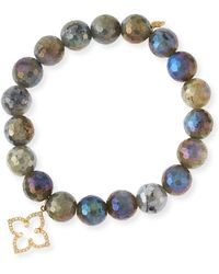 Sydney Evan | Coated Labradorite Faceted Bead Bracelet With Diamond Moroccan Flower Charm | Lyst