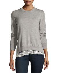 Jason Wu | Melange Wool Lace-trim Sweatshirt | Lyst