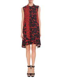Givenchy - Sleeveless Leopard-print Scarf-neck Oversized Silk Crepe Dress - Lyst