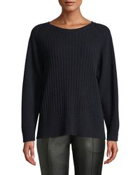 Tomas Maier - Crewneck Long-sleeve Ribbed Cashmere Sweater - Lyst