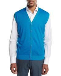Kiton - Cashmere-silk V-neck Cardigan Vest - Lyst