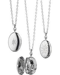 Monica Rich Kosann - Sterling Silver Starburst Locket Necklace With White Sapphires - Lyst