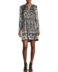 Calypso St. Barth - Talori Long-sleeve Print Silk Dress - Lyst
