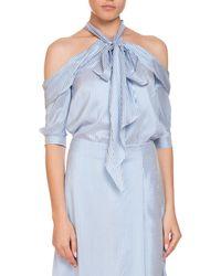 Erdem - Elin Striped Silk Cold-shoulder Tie-neck Top - Lyst