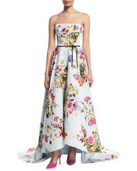 Monique Lhuillier - Strapless Dotted Floral-print Jacquard High-low Evening Gown W/ Train - Lyst