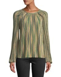 M Missoni - Metallic Striped Long-sleeve Top - Lyst
