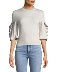 See By Chloé - Ruffle-sleeve Cropped Crewneck Sweater - Lyst