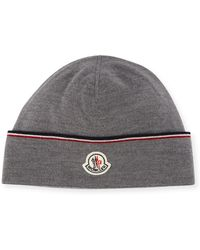 Moncler - Wool Striped Logo Beanie Hat - Lyst